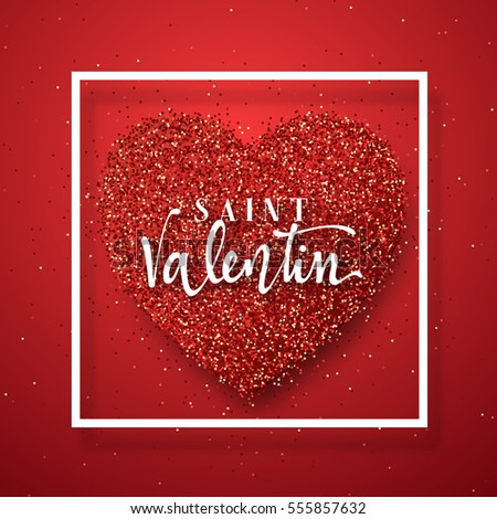 Happy Valentines Day. Lettering French Inscription Handmade. Saint  Valentin. Greeting Card On Red