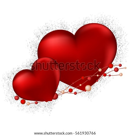 Happy Valentines Day lettering Greeting Card on red background, vector illustration