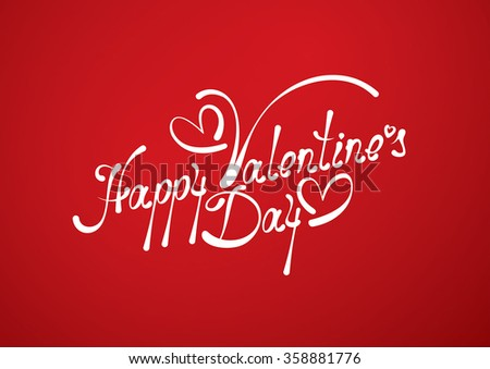 Happy Valentines Day lettering on red background. Valentines Day card. Vector illustration. - stock vector