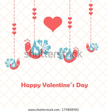 Happy valentines day. Love birds. Illustration. Vector. - stock vector