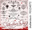 Happy Valentines Day, Love vector set; Abstract, vintage - stock photo