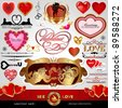 Happy Valentines Day, Love vector set; Abstract, vintage, Christmas, retro hearts and ornaments for design; Antique, art banner, frame, card, label, greetings and invitation for marriage and wedding - stock