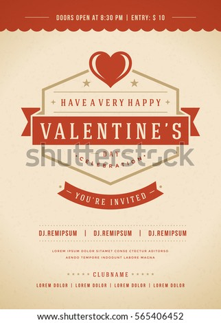 Happy valentines day party invitation poster stock vector 565406452 happy valentines day party invitation or poster vector illustration retro typography design heart shape stopboris Images