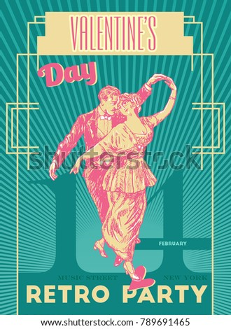 Happy valentines day party poster design stock vector hd royalty happy valentines day party poster design template retro dance party typography flyer invitation vector illustration stopboris