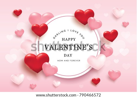 Happy valentines day romance greeting card with red and pink hearts