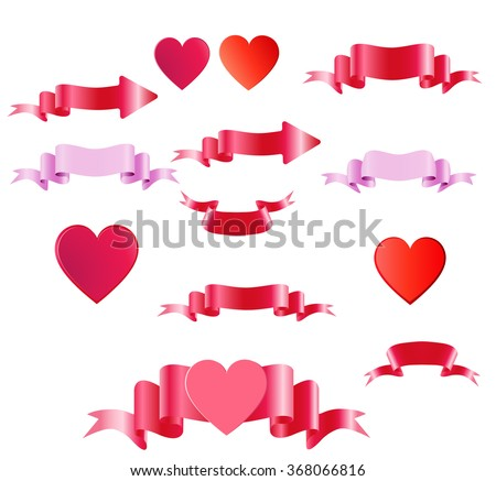 Happy Valentines Day.Satin colored tapes and heart. - stock vector
