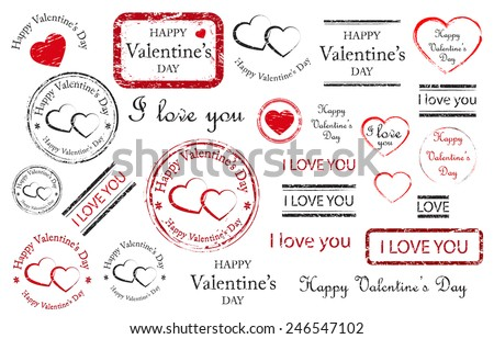 Happy valentines day stamps, stickers, banners and labels, red and black isolated on white background, vector illustration.