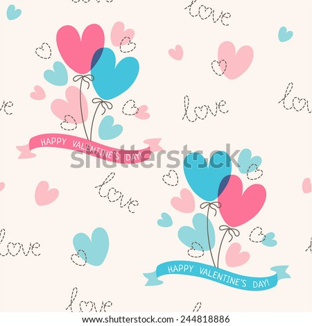 Happy valentines day (tile background) - stock vector