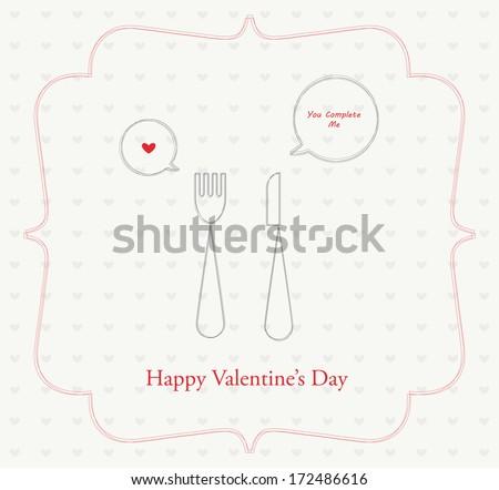 happy valentines, romantic dinner retro card   - stock vector