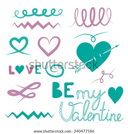 Happy Valentines. Set of icons - stock vector