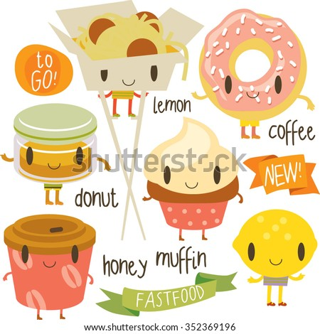 happy vector cute cartoon street food set: muffin, donut, chinese noodle, coffee to go, lemon, honey. Stickers, logos, labels, badges or banners.  - stock vector