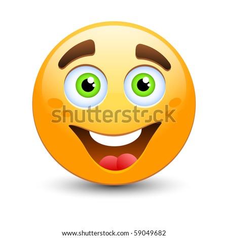 Happy vector emoticon - stock vector