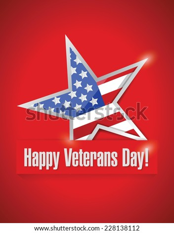 happy veterans day card illustration design over a red background - stock vector