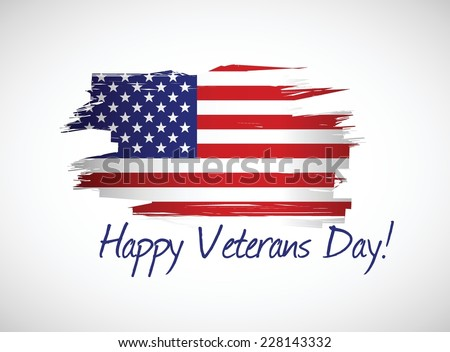 happy veterans day flag illustration design over a white background - stock vector