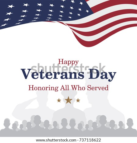 Happy veterans day greeting card usa stock vector 737118622 happy veterans day greeting card with usa flag and soldier on background national american m4hsunfo
