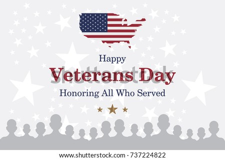 Happy Veterans Day Greeting Card Usa Stock Vector 737118622