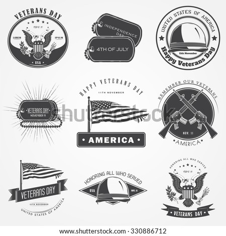 Happy veterans day set. Independence day. The celebration of patriotic celebration of America. Detailed elements. Typographic labels, stickers, logos and badges. Flat vector illustration - stock vector
