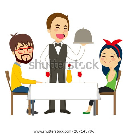 Happy waiter serving on restaurant to lovely casual couple - stock vector