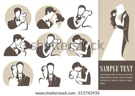 happy wedding,bride and groom, wedding icons, emblems, logo - stock vector