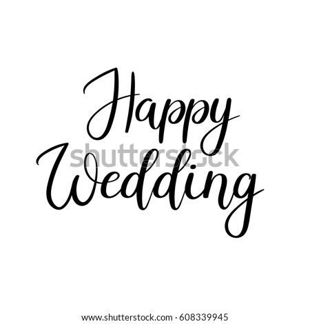 Vetor stock de happy wedding hand lettering text calligraphy livre happy wedding hand lettering text calligraphy inscription for greeting cards wedding invitations vector stopboris Choice Image