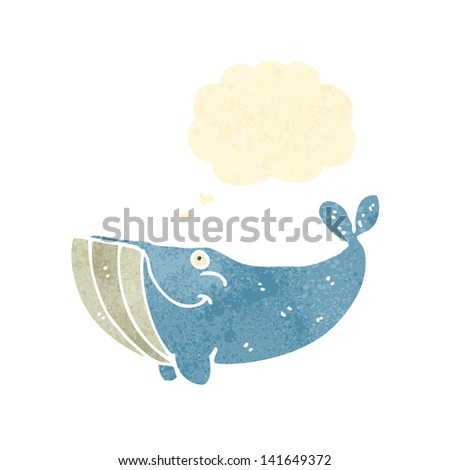 happy whale with thought bubble - stock vector