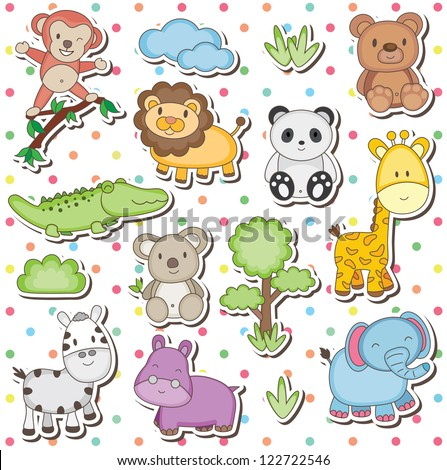 Happy wild animals clip art - stock vector