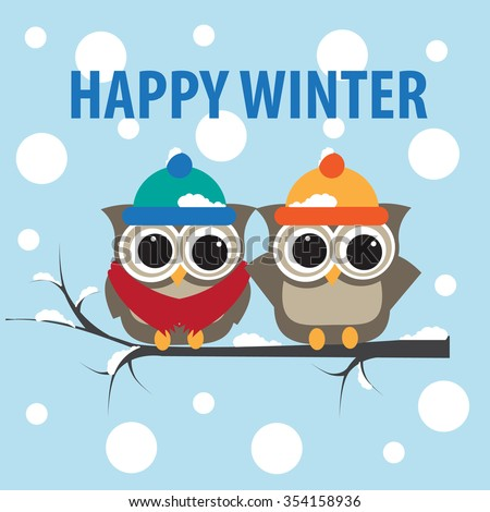 Happy Winter with Cute owls Background.Vector
