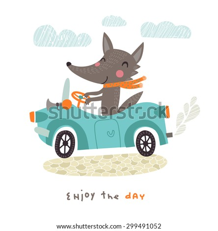 Happy Wolf travels by car - stock vector