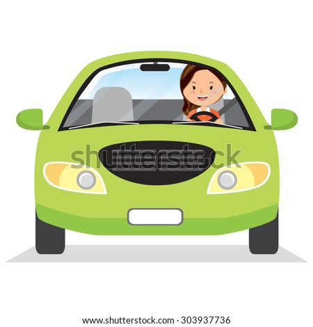 Happy woman driving a car. Vector illustration of a cheerful female driver. - stock vector