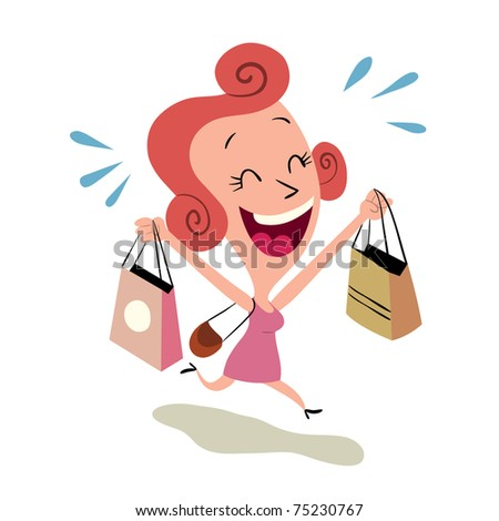 happy woman shopping - stock vector