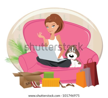Happy Woman shopping online .Internet