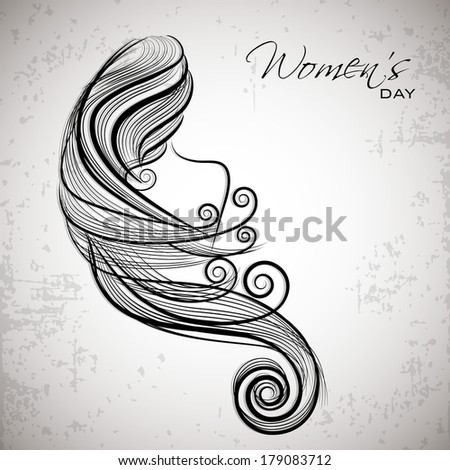Happy Women's Day celebrations concept with illustration of a beautiful long hairs girl on grey background. - stock vector