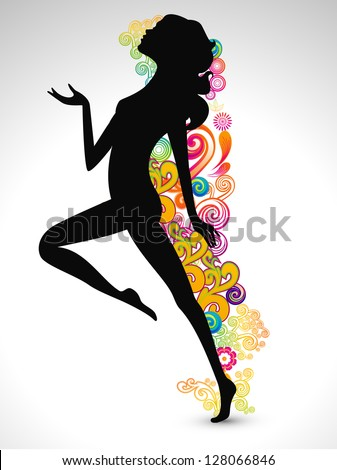 Happy Women's Day greeting card or background with  silhouette of a happy women on floral decorative background. - stock vector