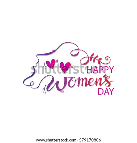Happy Women's Day hand drawn lettering.