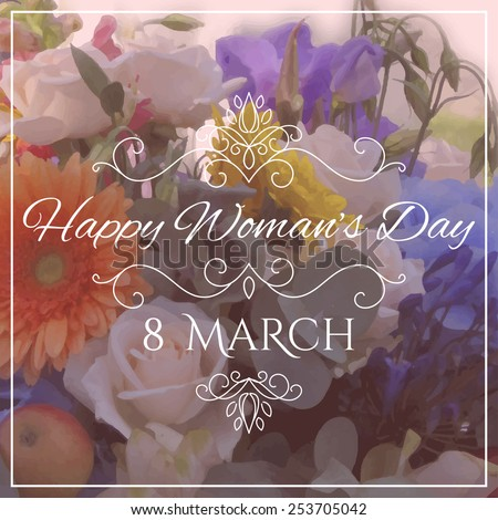 Happy Women's Day. 8 March lettering on unfocused floral background. Vector illustration - stock vector