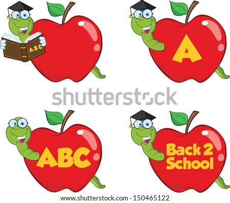 Happy Worm In Red Apple. Set Vector Collection - stock vector