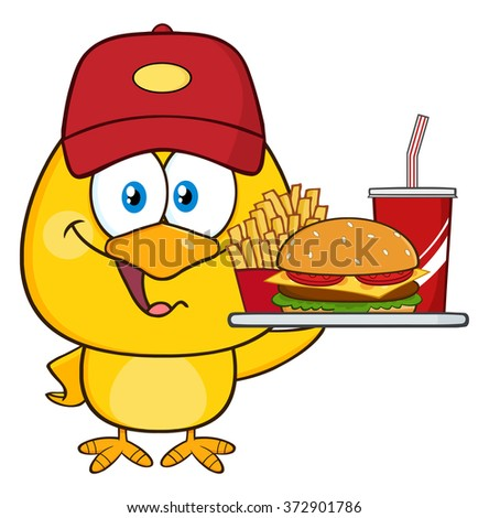 Happy Yellow Chick Cartoon Character Wearing A Baseball Cap And Holding A Fast Food Tray. Vector Illustration Isolated On White - stock vector