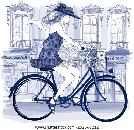 Happy young bicyclist riding in a street in Paris with a little dog - vector illustration - stock vector