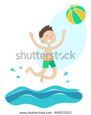 happy young boy playing ball water stock vector 440013055 shutterstock rh shutterstock com Water Day Clip Art Water Day Clip Art