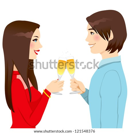Happy young couple drinking champagne making toast of love celebrating anniversary - stock vector