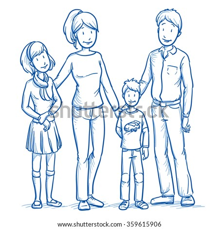 Happy young family in casual clothes with two children. Hand drawn line art cartoon vector illustration. - stock vector