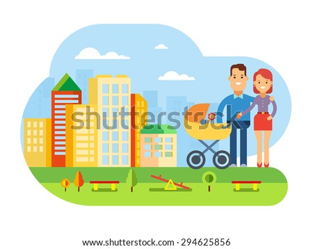 Happy young family with a baby in stroller Happy Young Family with Baby on City Landscape concept flat vector illustration - stock vector