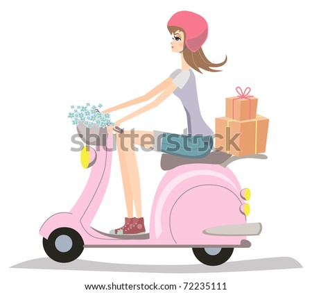 Happy young girl riding a scooter