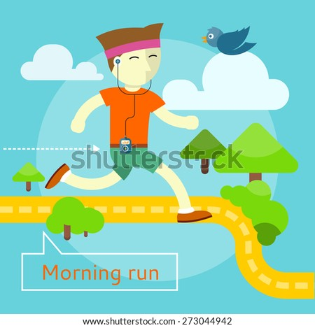 Happy young man on morning run in flat design. Can be used for web banners, marketing and promotional materials, presentation templates  - stock vector