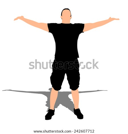 Happy young man spreading his arms, vector  - stock vector