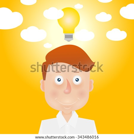 Happy young man with idea. Mood and emotional state. - stock vector