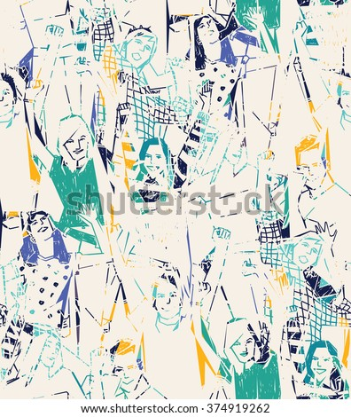 Happy young people abstract seamless pattern. Color vector illustration. EPS8