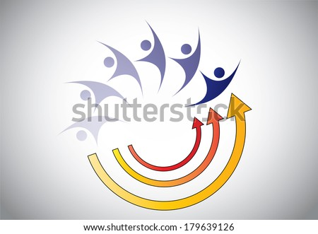 Happy Young person man woman energy recovery abstract concept. Strength restoration process illustration with arrows and youthful person growth or success concept illustration art - stock vector