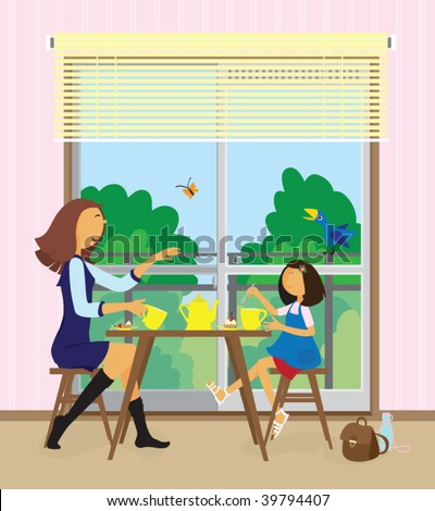Happy young woman and her little pre-school daughter are sitting opposite each other and eating cakes near the balcony at their home. - stock vector
