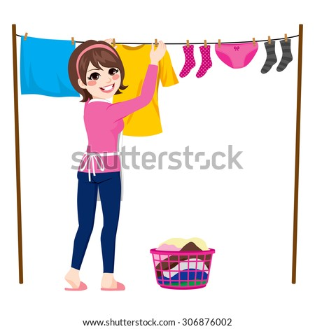 Happy young woman hanging wet clothes out to dry - stock vector